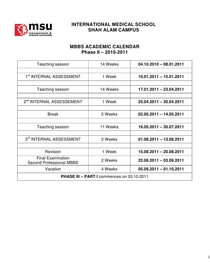 Msu Academic Calendar.Mbbs Academic Calendar Phase Ii 2010 2011 S Alam
