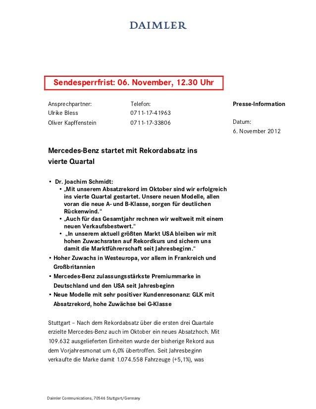 Sendesperrfrist: 06. November, 12.30 UhrAnsprechpartner:                         Telefon:                  Presse-Informat...