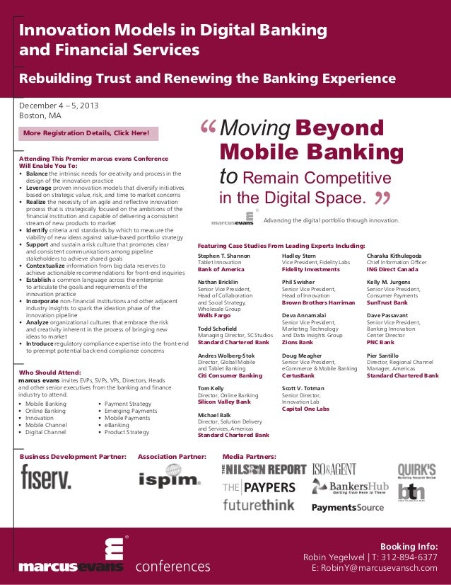Innovation Models in Digital Banking and Financial Services Rebuilding Trust and Renewing the Banking Experience December ...
