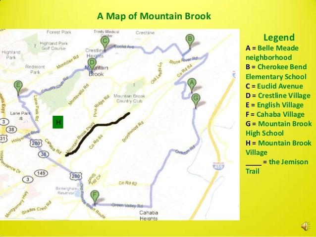 A Map of Mountain Brook                                   Legend                              A = Belle Meade             ...