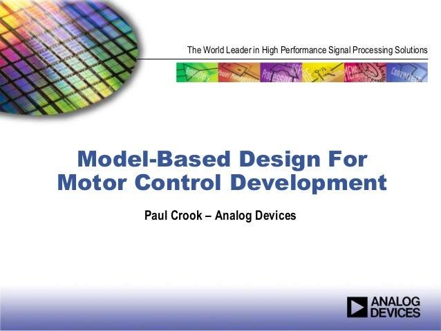 Model Based Design For Motor Control Development