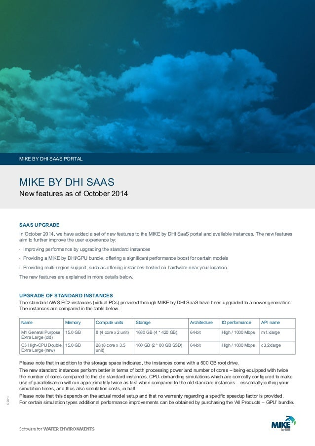 © DHI  MIKE BY DHI SAAS  New features as of October 2014  In October 2014, we have added a set of new features to the MIKE...