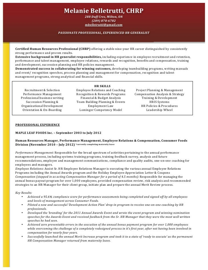 sample resume hr generalist