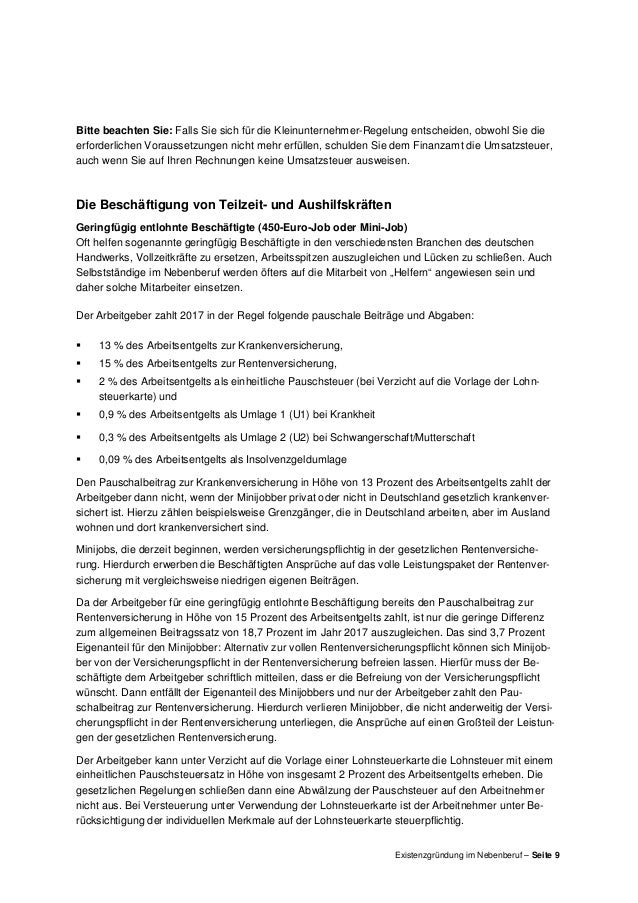 Existenzgründung Im Nebenberuf Merkblatt Der Hwk Koblenz