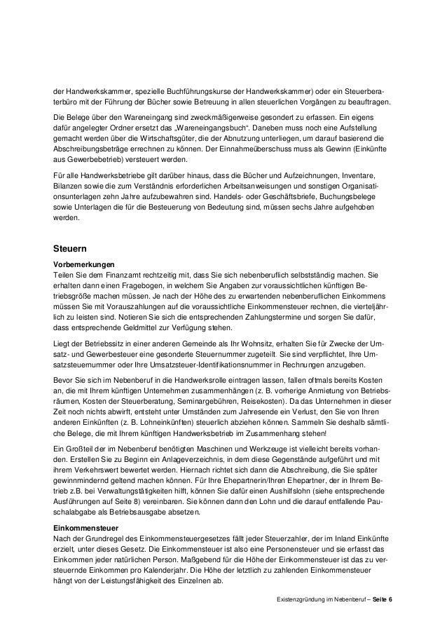 Existenzgründung im Nebenberuf (Merkblatt der HwK Koblenz)