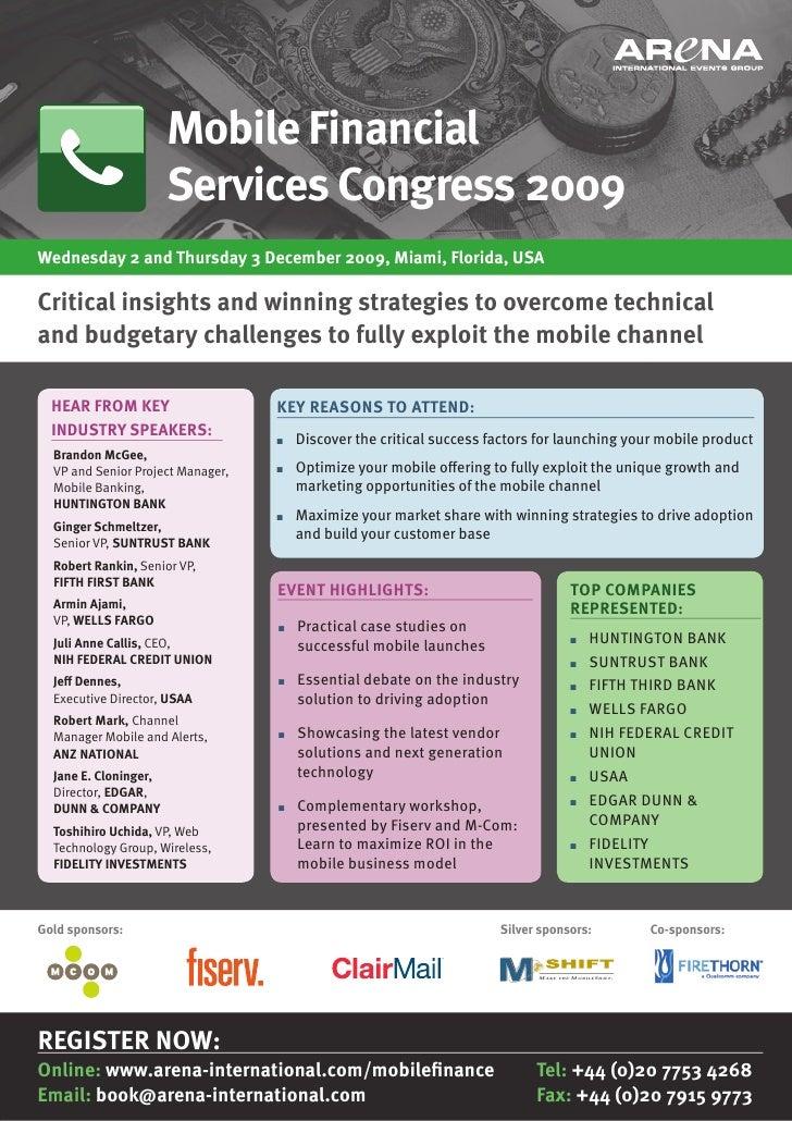 Mobile Financial                        Services Congress 2009 Wednesday 2 and thursday 3 December 2009, Miami, Florida, u...