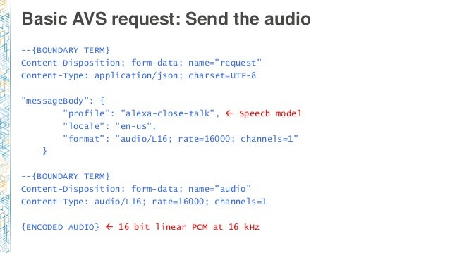 """Basic AVS request: Send the audio --{BOUNDARY TERM} Content-Disposition: form-data; name=""""request"""" Content-Type: applicati..."""