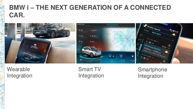 BMW i – THE NEXT GENERATION OF A CONNECTED CAR. Wearable Integration Smart TV Integration Smartphone Integration
