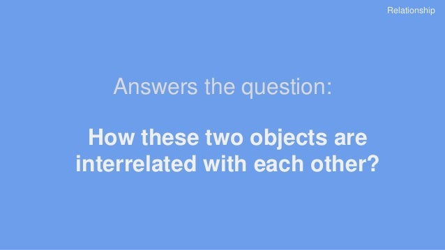 How these two objects are interrelated with each other? Answers the question: Relationship