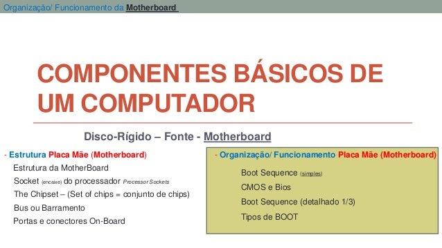 COMPONENTES BÁSICOS DE UM COMPUTADOR Disco-Rígido – Fonte - Motherboard - Estrutura Placa Mãe (Motherboard) - Organização/...
