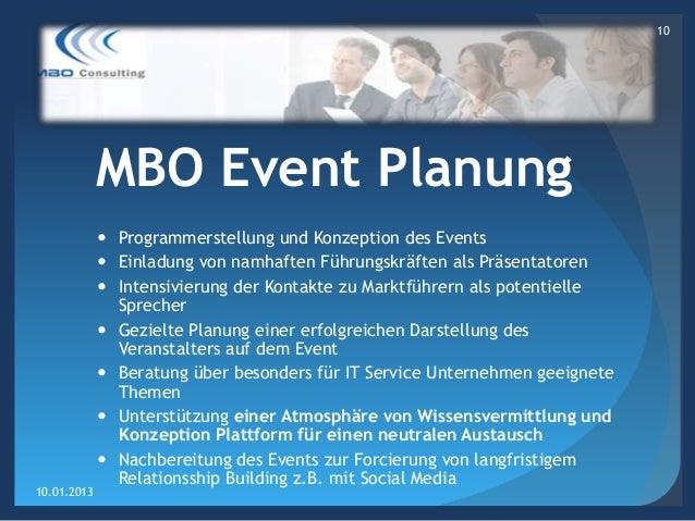 10             MBO Event Planung              Programmerstellung und Konzeption des Events              Einladung von na...