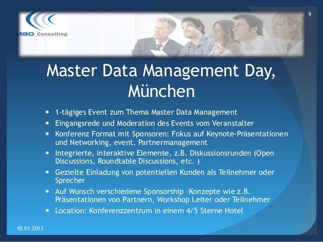 9             Master Data Management Day,                       München              1-tägiges Event zum Thema Master Dat...