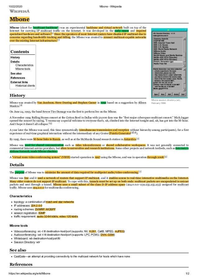 10/22/2020 Mbone - Wikipedia https://en.wikipedia.org/wiki/Mbone 1/2 Mbone session directory (sd), February 1996 Mbone Mbo...