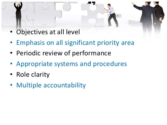 Steps in MBO • Setting of organizational purpose and objectives • Key result area • Setting subordinates objectives • Matc...