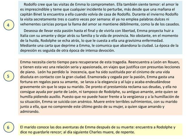 Rodolfo cree que las visitas de Emma lo comprometen. Ella también siente temor: el amor le es imprescindible y teme que cu...
