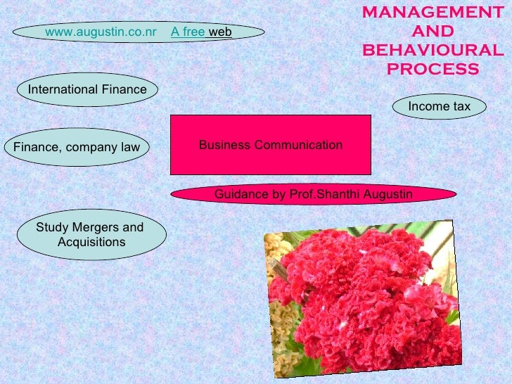 MANAGEMENT AND BEHAVIOURAL PROCESS Study Mergers and  Acquisitions Income tax International Finance Business Communication...
