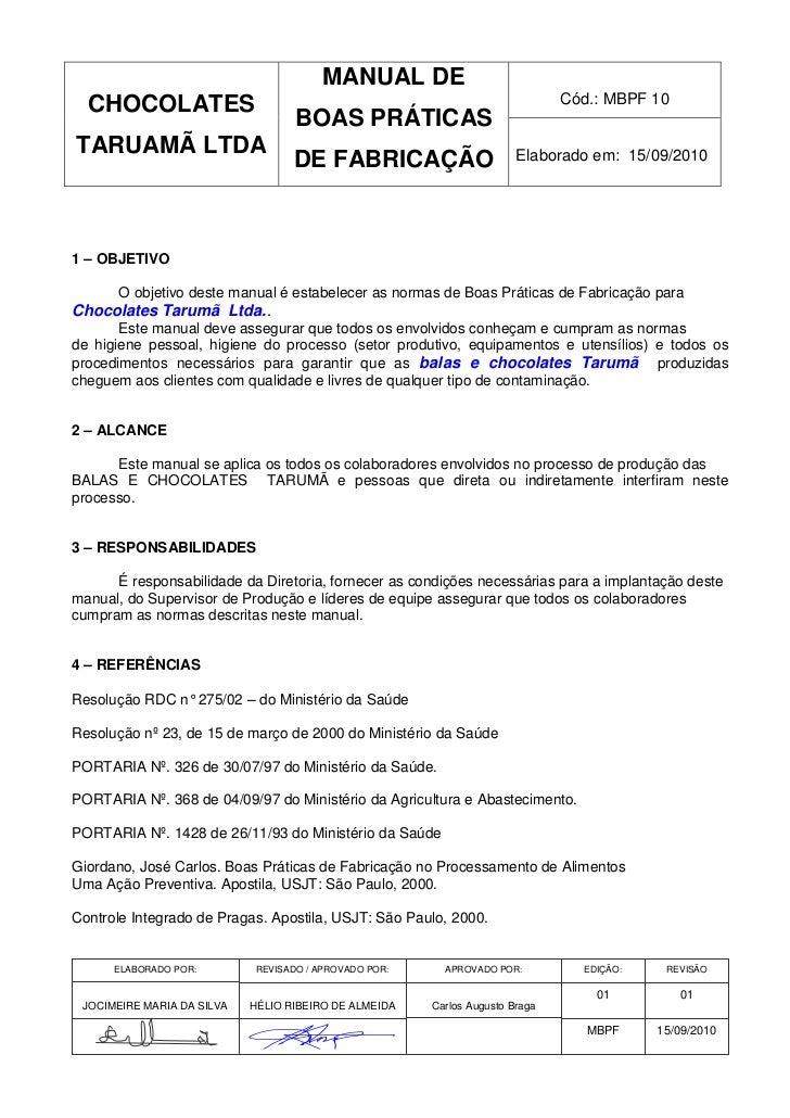 MANUAL DE  CHOCOLATES                                                                  Cód.: MBPF 10                      ...