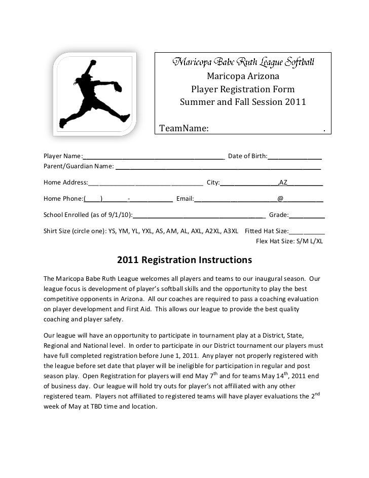 sport registration form template - mbrl softball registration