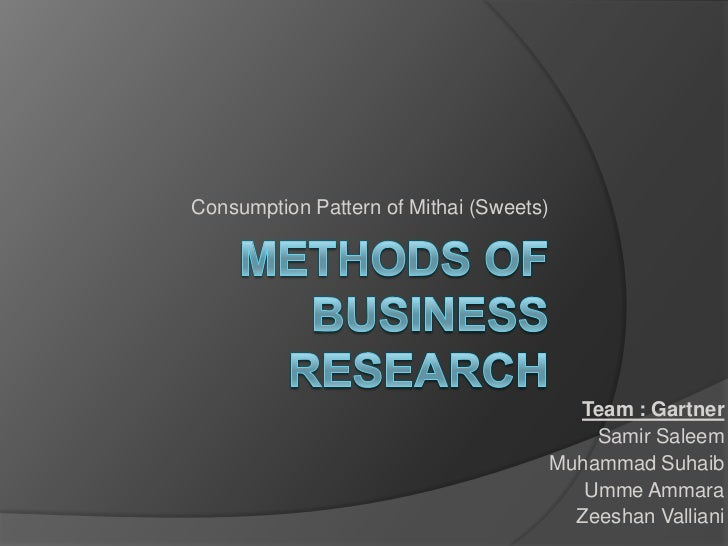 Consumption Pattern of Mithai (Sweets)                                           Team : Gartner                           ...