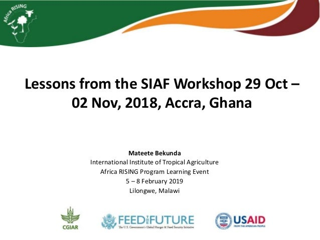 Lessons from the SIAF Workshop, Accra, Ghana, 29 October–02