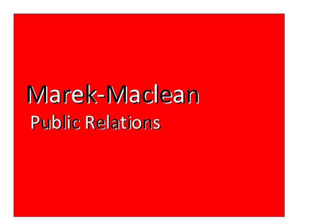 Marek-MacleanPublic Relations