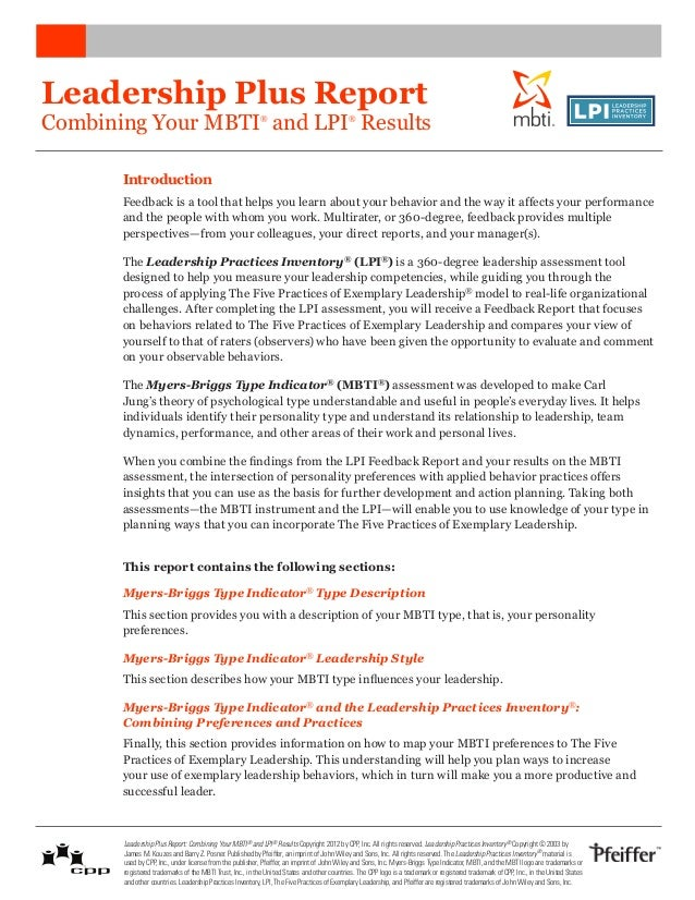 Leadership Plus ReportCombining Your MBTI and LPI Results                       ®                                 ®       ...