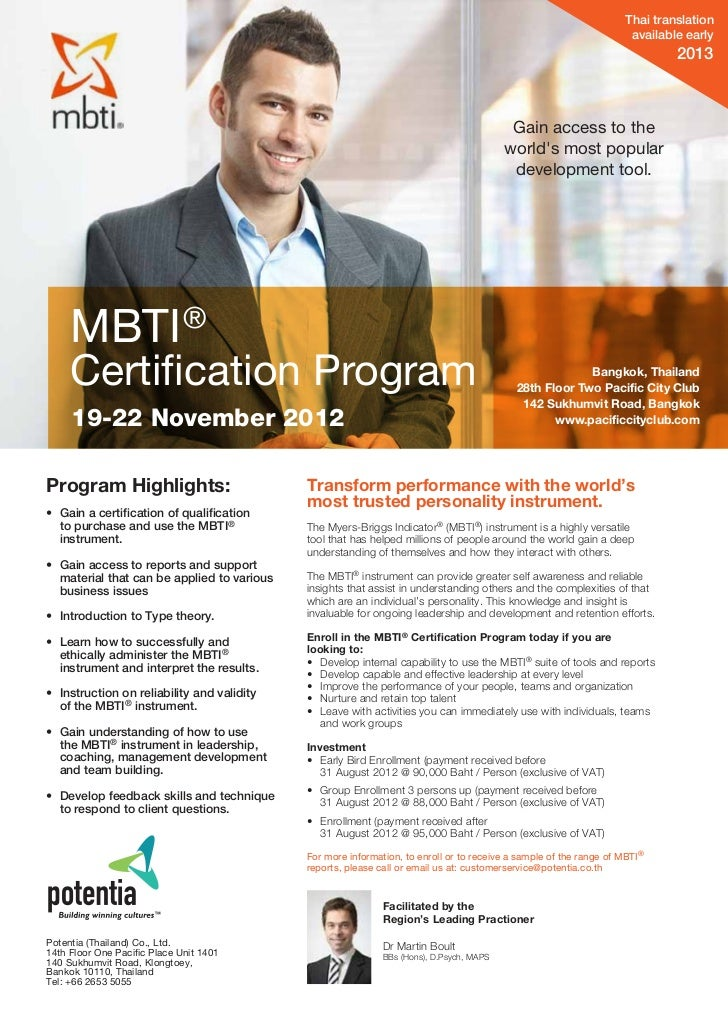 MBTI Certification Program, Bangkok Thailand 19-22 Nov