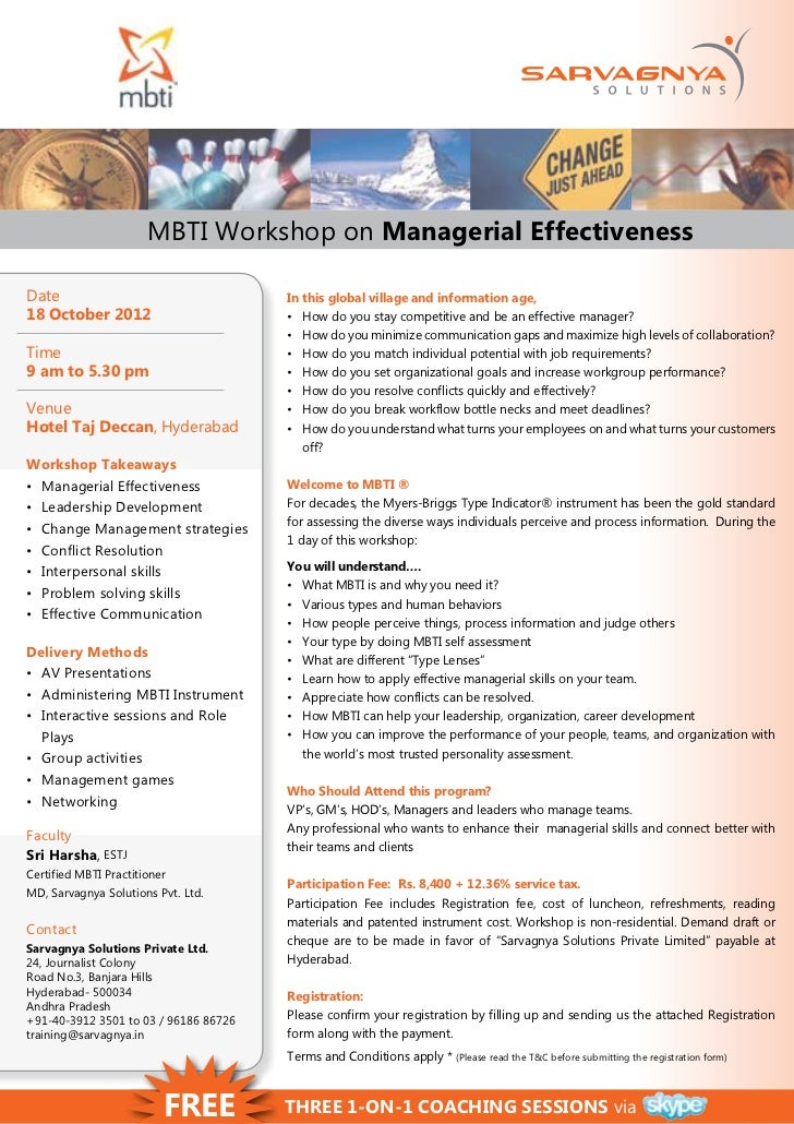 Mbti Workshop On Managerial Effectiveness On Oct 18 2012 At Hyderabad