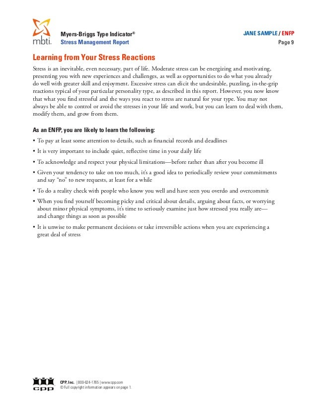 stress report Myers-briggs type indicator ® stress management report jane sample/estj page 2 introduction is report uses your results on the myers-briggs type indicator® (mbti®) assessment to describe how you.