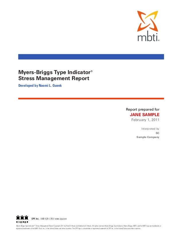 MBTI Stress Management Report Slide 2