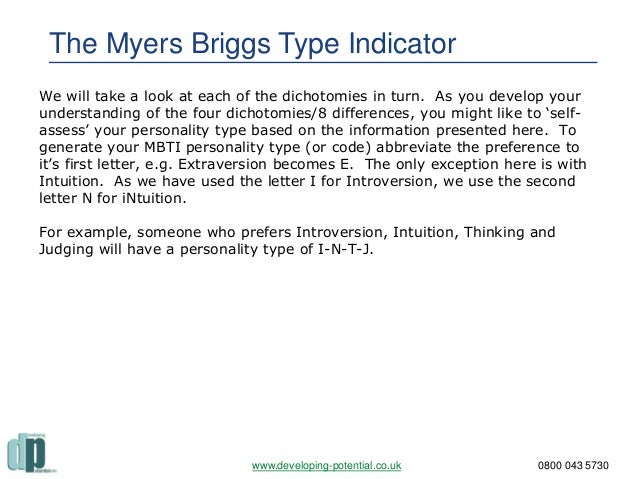 myers briggs efsj essay example Self assessment of leaders  the myers – briggs type indicator provides also more insight for  a good example is the jungian personality self.