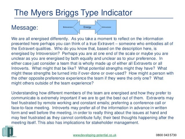 using the myers briggs type indicator essay