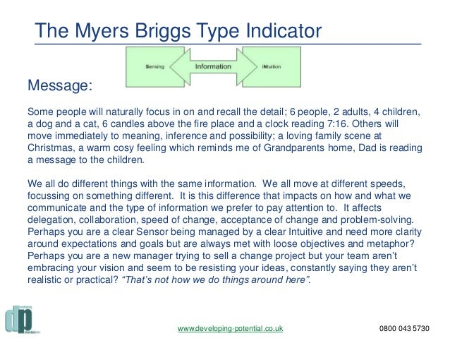 using the myers briggs type indicator essay The myers-briggs type indicator (mbti) instrument is the most trusted & widely used personality assessment test in the world the myers-briggs assessment can improve the quality of life for anyone & any organization.