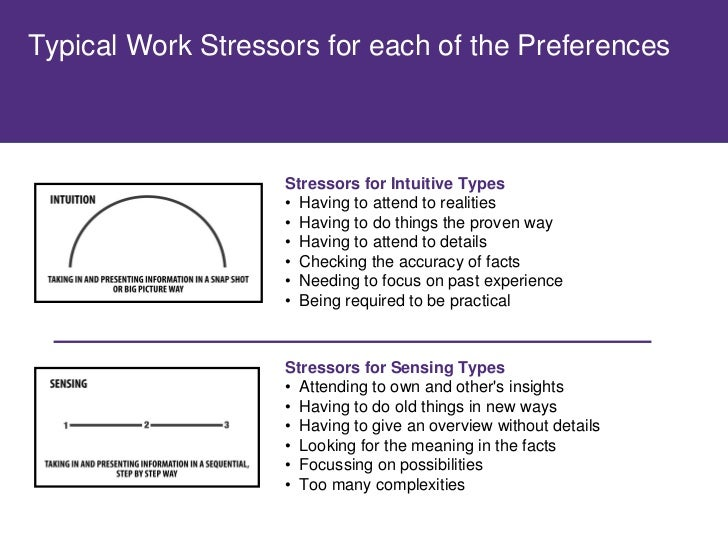 Typical Work Stressors for each of the Preferences                       Stressors for Thinking Types                    •...