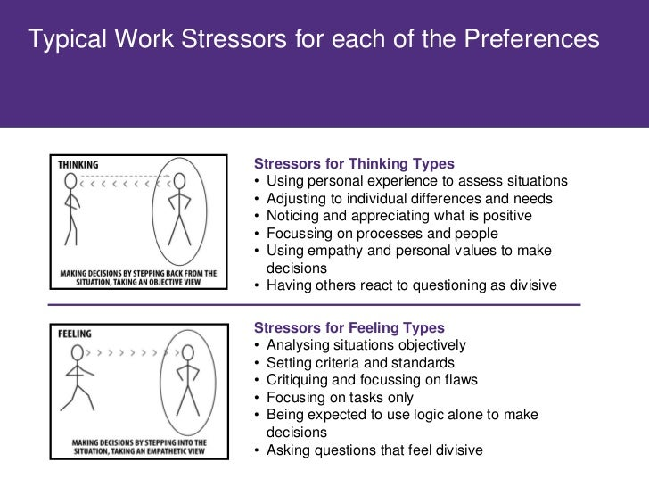 Typical Work Stressors for each of the Preferences                        Stressors for Judging Types                     ...