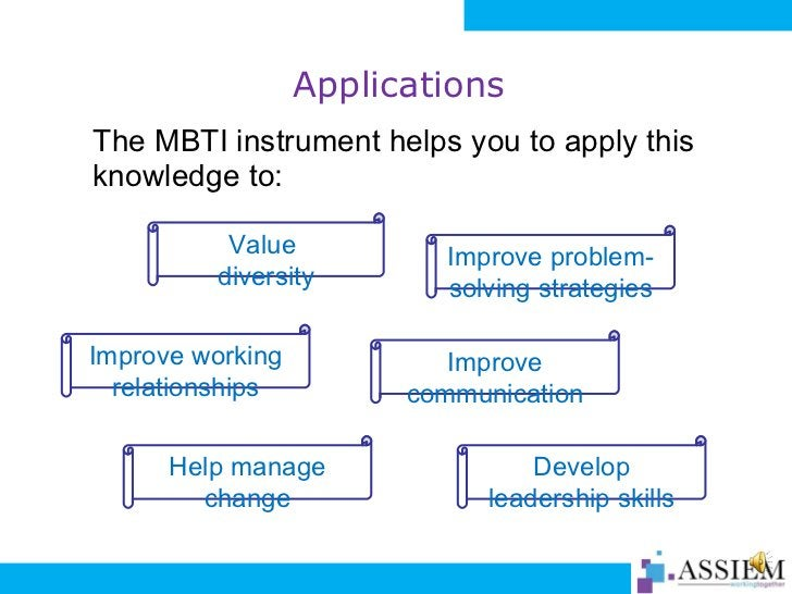 Applications <ul><li>The MBTI instrument helps you to apply this knowledge to: </li></ul>Value  diversity Improve working ...