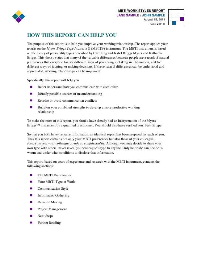 mbti work styles report