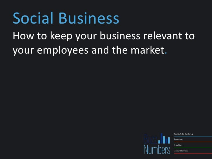 Social BusinessHow to keep your business relevant toyour employees and the market.                                Social M...