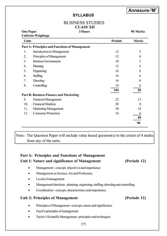 Annexure-M                                         SYLLABUS                                  BUSINESS STUDIES             ...