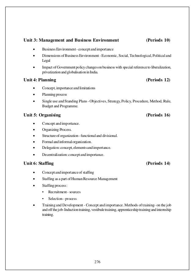 Unit 3: Management and Business Environment                                          (Periods 10)    •    Business Environ...