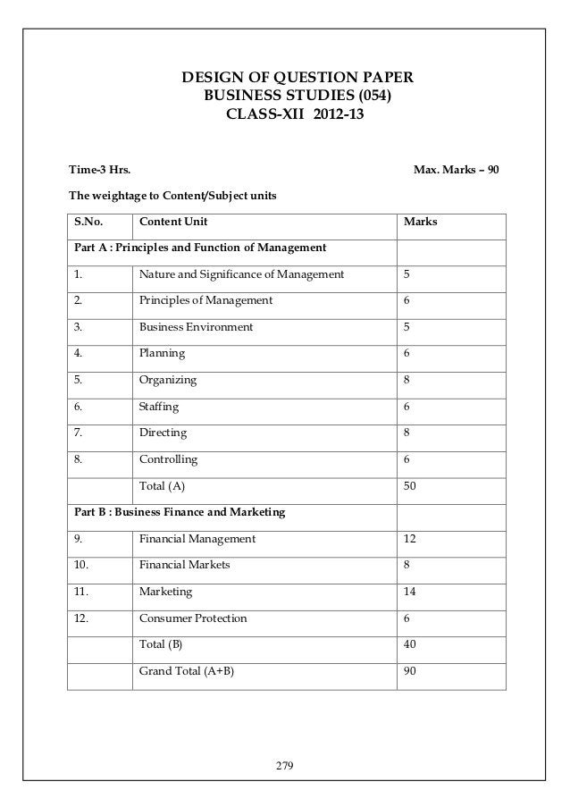 DESIGN OF QUESTION PAPER                           BUSINESS STUDIES (054)                              CLASS-XII 2012-13Ti...