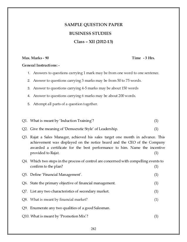 SAMPLE QUESTION PAPER                             BUSINESS STUDIES                                Class – XII (2012-13)Max...
