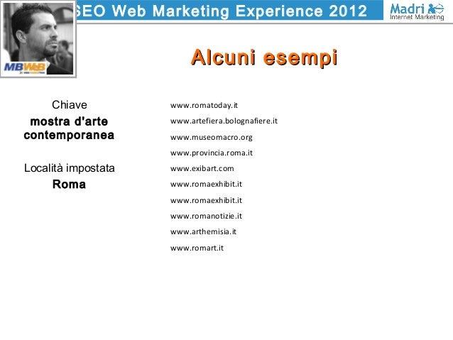 SEO Web Marketing Experience 2012 Alcuni esempiAlcuni esempi Chiave mostra d'arte contemporanea Località impostata Roma ww...