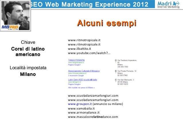 SEO Web Marketing Experience 2012 Alcuni esempiAlcuni esempi Chiave Corsi di latino americano Località impostata Milano ww...
