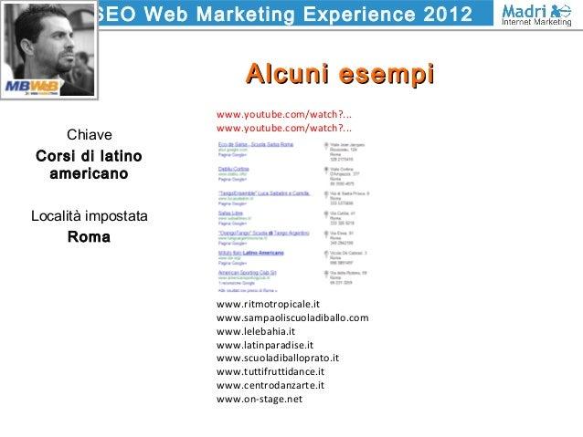 SEO Web Marketing Experience 2012 Alcuni esempiAlcuni esempi Chiave Corsi di latino americano Località impostata Roma www....