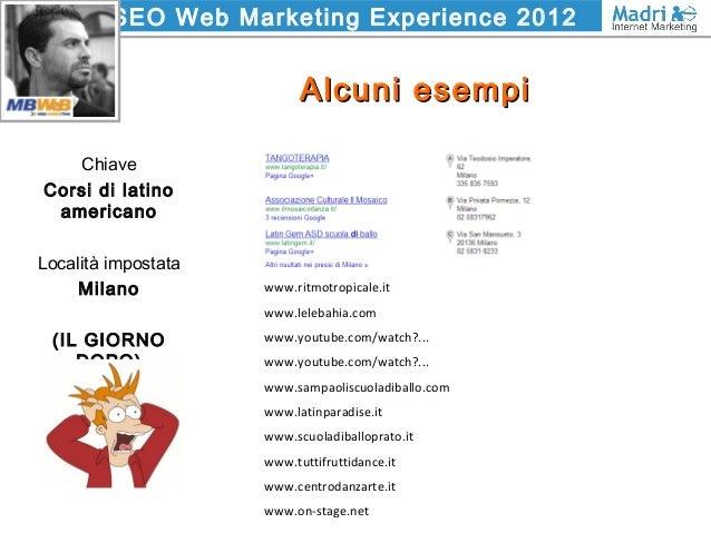 SEO Web Marketing Experience 2012 Alcuni esempiAlcuni esempi Chiave Corsi di latino americano Località impostata Milano (I...
