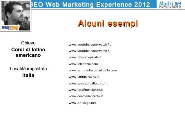 SEO Web Marketing Experience 2012 Alcuni esempiAlcuni esempi Chiave Corsi di latino americano Località impostata Italia ww...