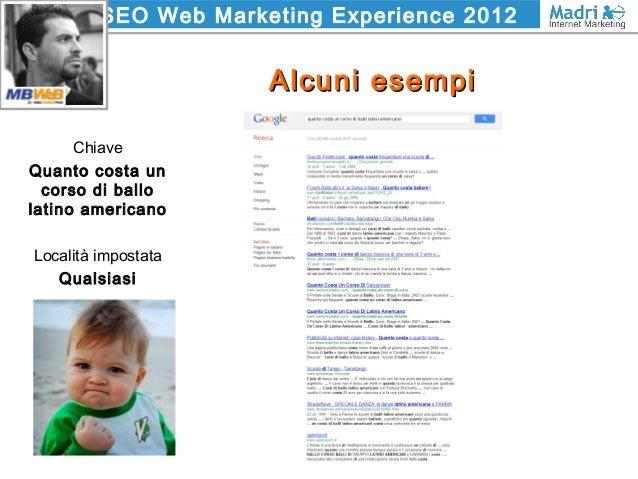 SEO Web Marketing Experience 2012 Alcuni esempiAlcuni esempi Chiave Quanto costa un corso di ballo latino americano Locali...