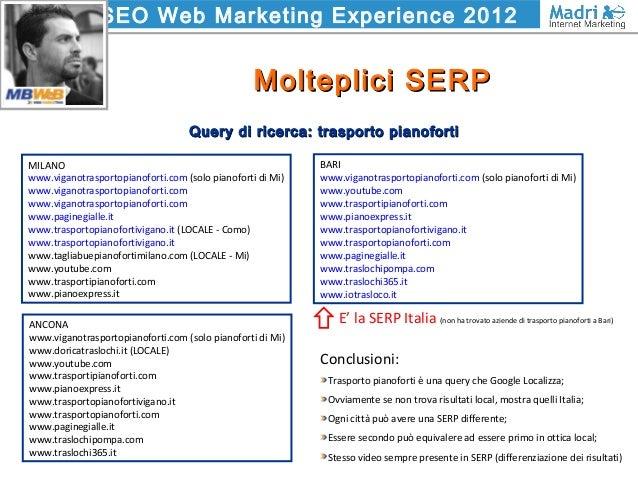 SEO Web Marketing Experience 2012 Molteplici SERPMolteplici SERP BARI www.viganotrasportopianoforti.com (solo pianoforti d...