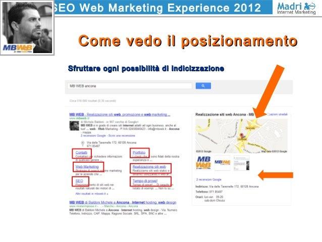 SEO Web Marketing Experience 2012 Come vedo il posizionamentoCome vedo il posizionamento Sfruttare ogni possibilità di ind...